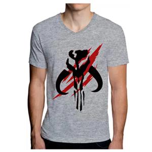 Camiseta-hombre-Mythosaur-Skull-gris-The-Mandalorian-Star-Wars-Disney